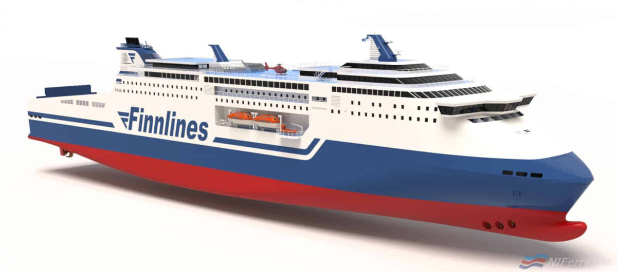 "A rendering of Finnlines new ""Superstar"" class ordered from CMJL (Weihai). © Knud E Hansen."
