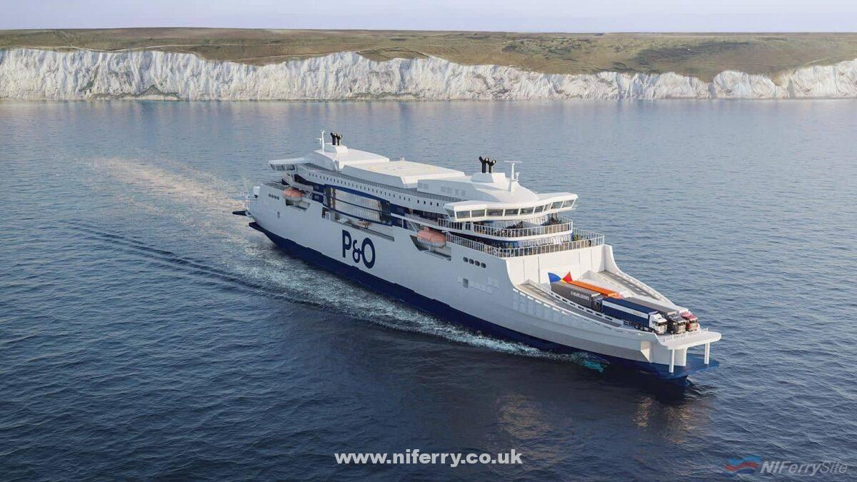 An artist impression of one of P&O Ferries new-build double-ended ferries in operation. P&O Ferries.