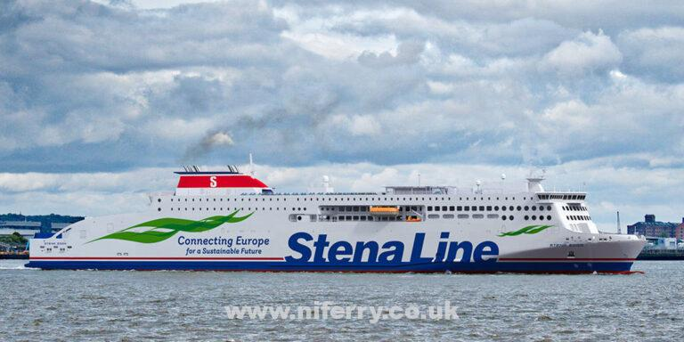 A rendering showing how STENA EDDA would look passing the terminal at Birkenhead. Stena Line.