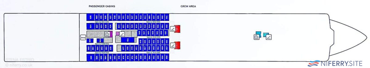 A photograph taken onboard STENA ESTRID of the Deck 9 layout plan. © NIFerry.co.uk