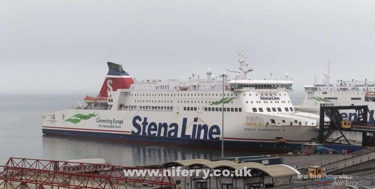 STENA SUPERFAST X seen berthed at Rosslare on Thursday Jan 24th 2020. Copyright © Brian Boyce.