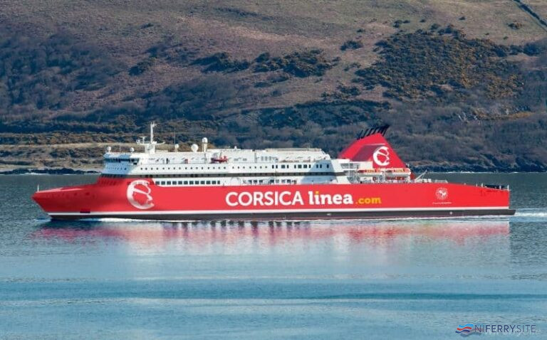 A mock-up image of how STENA SUPERFAST X will look in Corsica Linea colours. Corsica Linea.