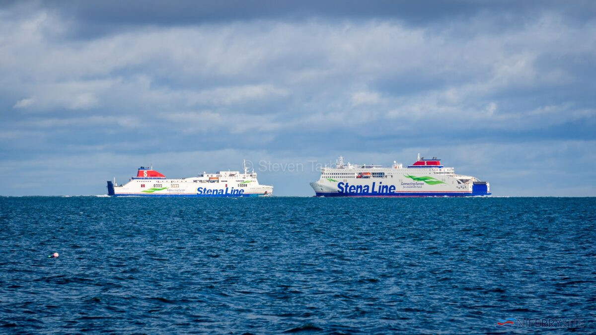 STENA EDDA turns to meet and salute STENA LAGAN while at anchor off Groomsport on the morning of her first arrival in UK waters. Copyright © Steven Tarbox.