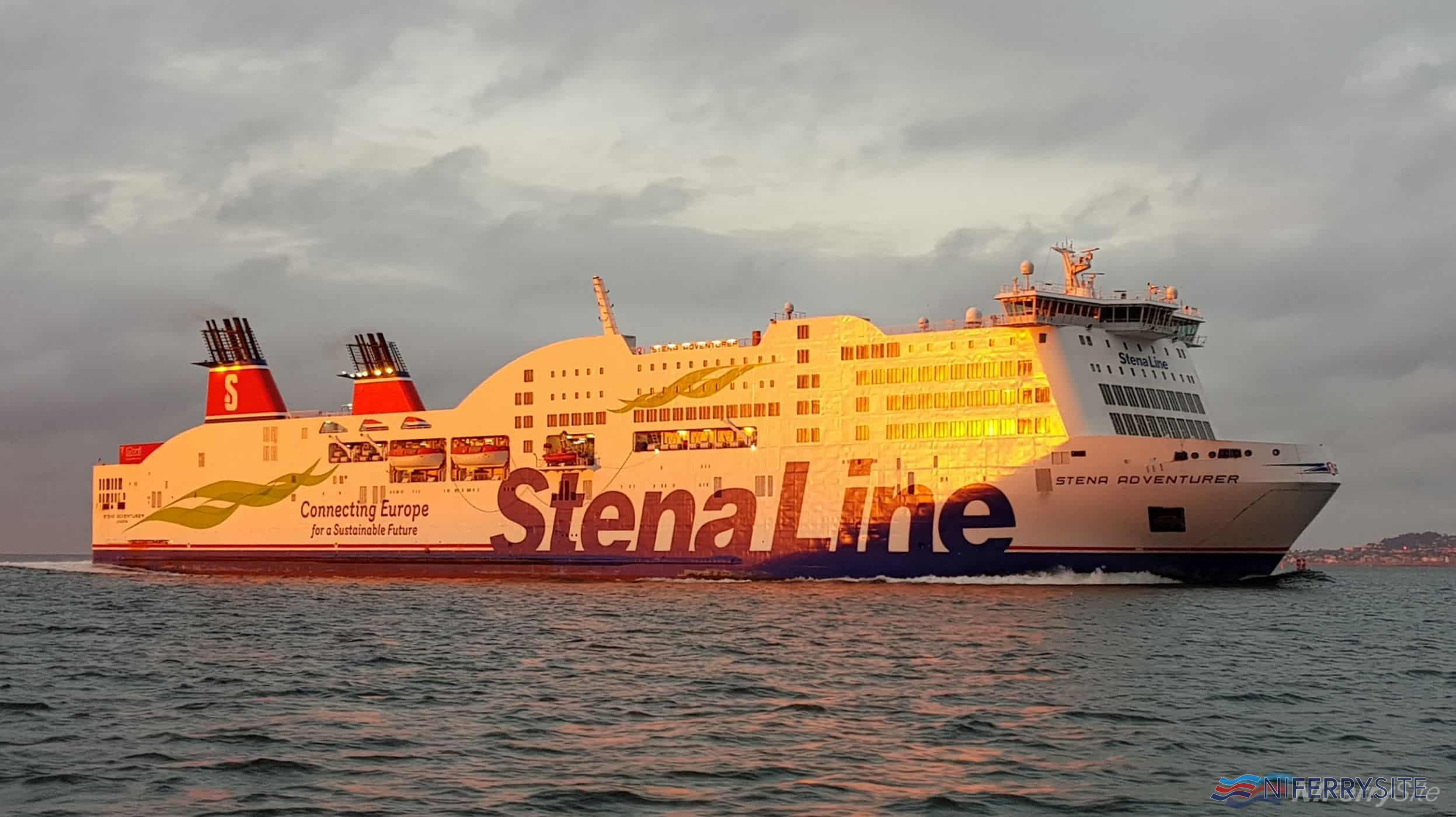 Sunrise at Dublin Port. STENA ADVENTURER arrives at Dublin from Holyhead, 28 May 2019. Copyright © Robbie Cox.