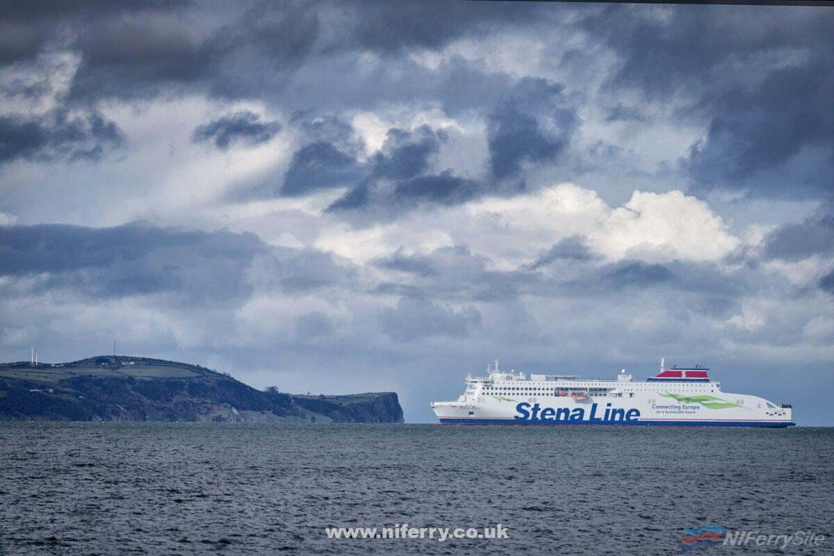 STENA EDDA arrives at the mouth of Belfast Lough. Stena Line.