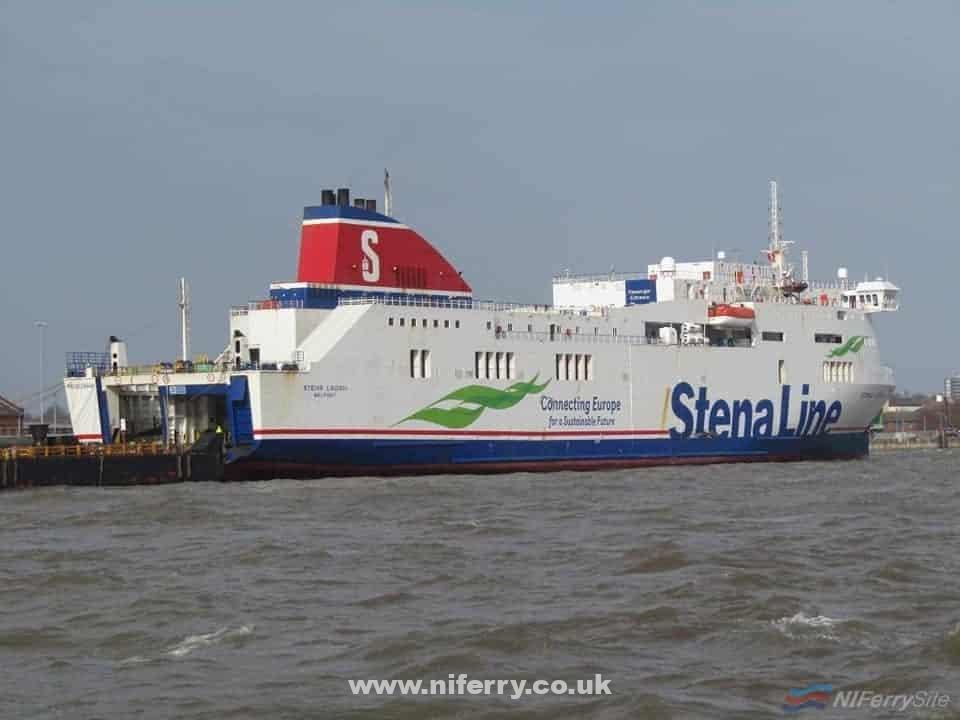 STENA LAGAN seen at 12 Quays North after completing her final crossing from Belfast, 09.03.2020. Copyright © Rob Foy.