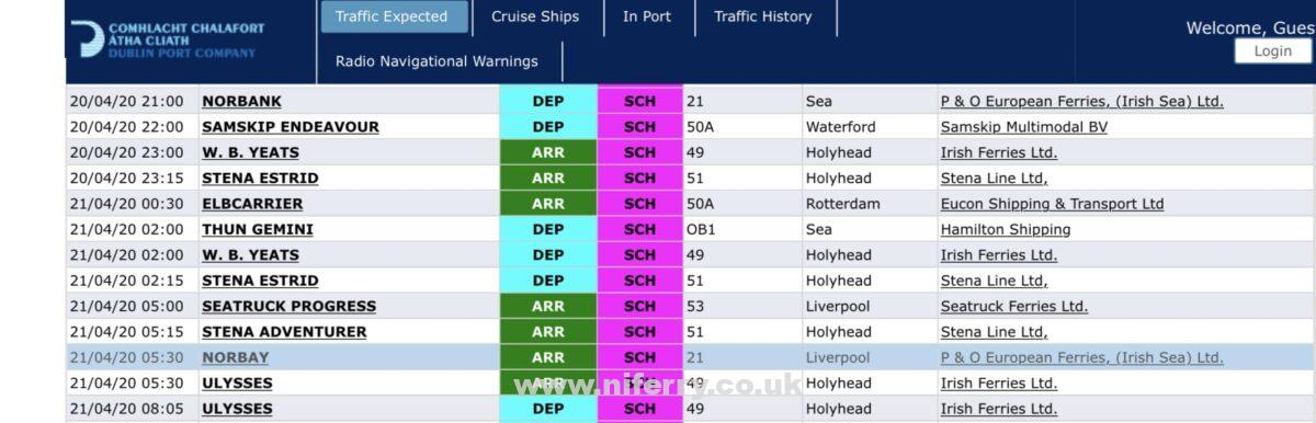 A screenshot from Dublin Port's vessel booking system showing the expected departure of P&O Ferries' Norbank and arrival of Norbay tomorrow.