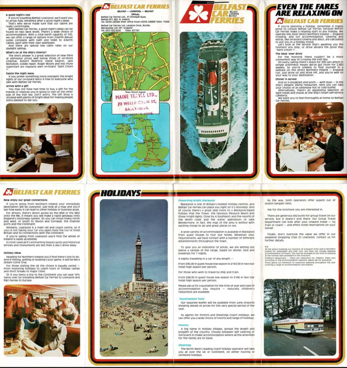 A fold-out brochure from Belfast Car Ferries for the 1983 season.