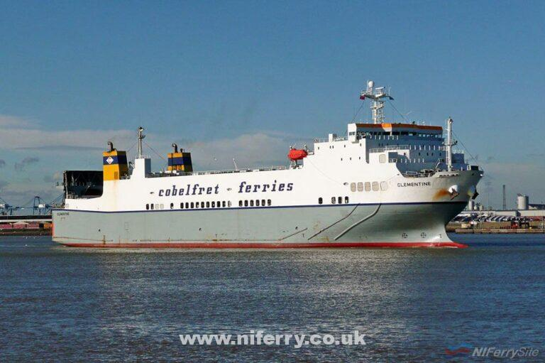 Cobelfret's CLEMENTINE seen passing Tilbury in 2008. She is one of six 'Kawasaki Class' Ro-Ro's delivered to the company from Kawasaki in Korea in the late-1990's. Copyright © Ian Boyle