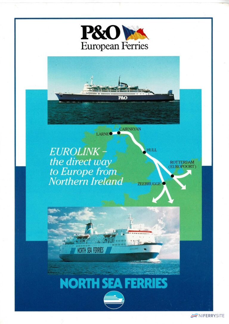 P&O European Ferries and North Sea Ferries joint land-bridge brochure (I think 1990). NI Ferry Site archive.