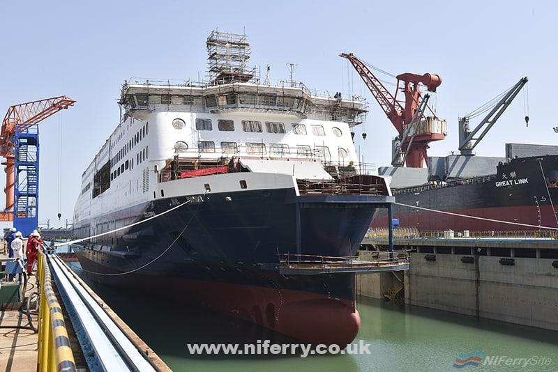 CÔTE D'OPALE floated in the building dock at China Merchants Jinling Shipyard (Weihai). China Merchants Jinling Shipbuilding.