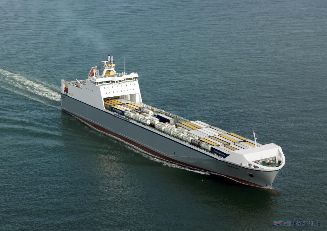 "CLdN's ConRo class vessel MV ""Mazarine"" which has recently been converted to expand capacity. CLdN"