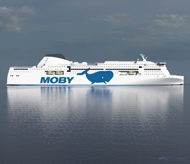 A render of the first of Moby Line's giant Ro-Pax's on order at Guangzhou Shipyard International, to be named MOBY FANTASY