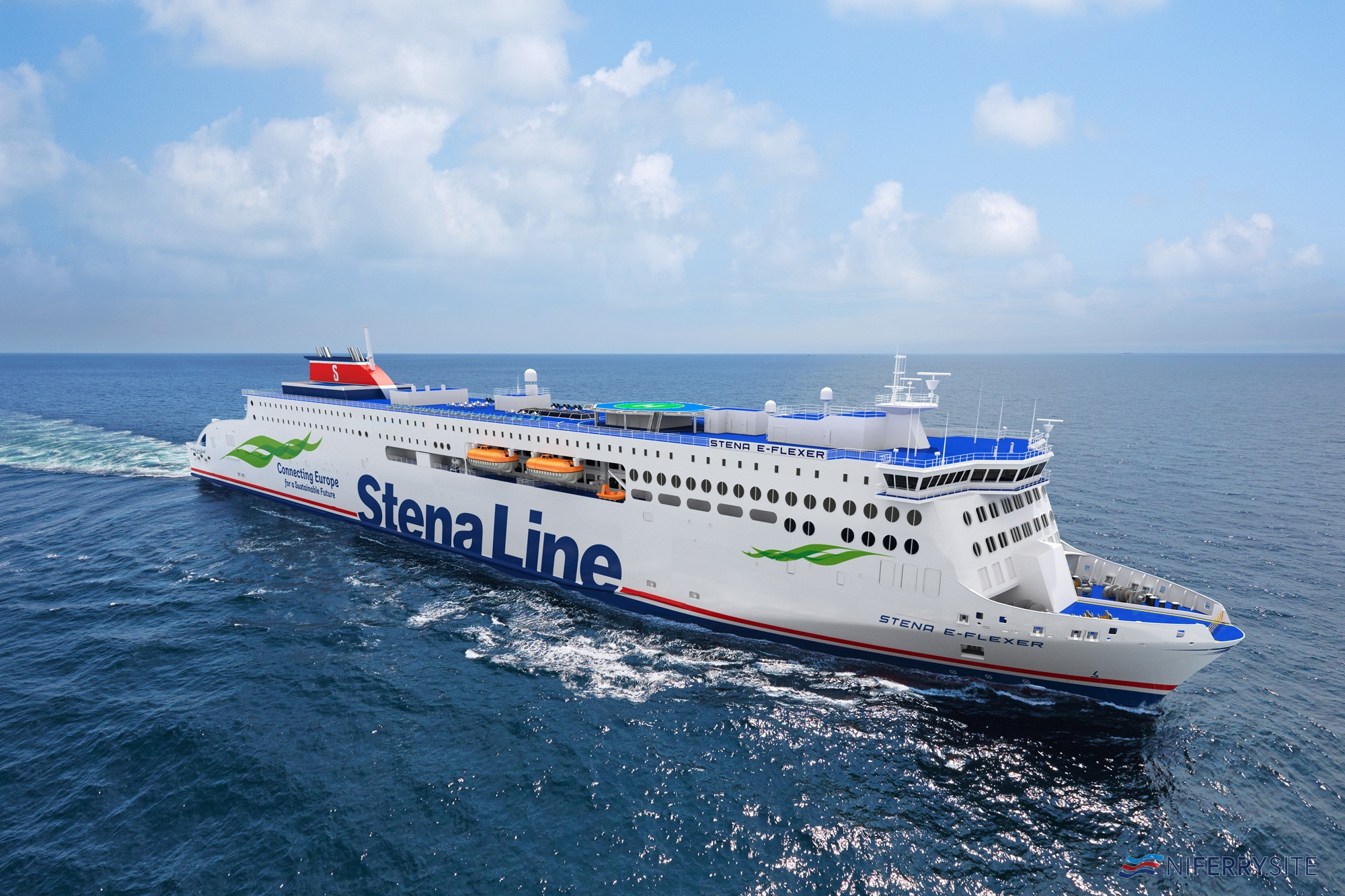 Construction of the two longer Stena Line ferries began with a steel cutting ceremony for the two vessels on April 2 and May 29 this year on site in Weihai, China. Due to COVID-19, only site teams were present. Mild Design / Stena Line