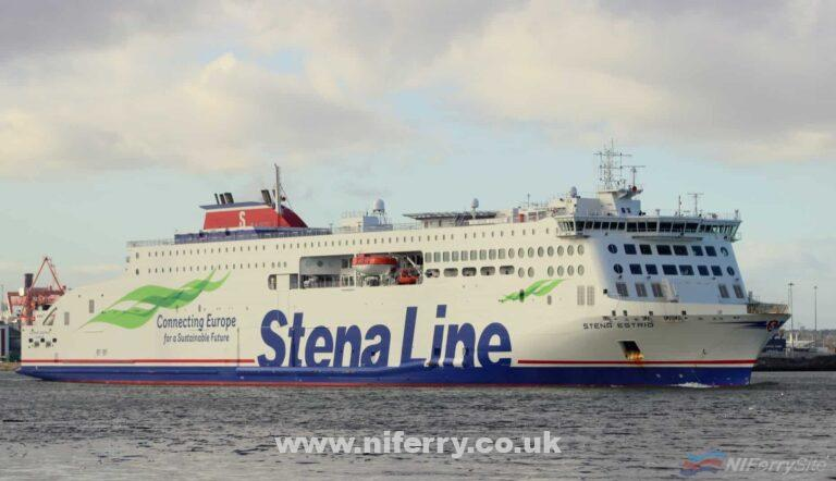 Stena Line's STENA ESTRID seen sailing from Dublin Port on 03.03.20. Copyright © Robbie Cox.