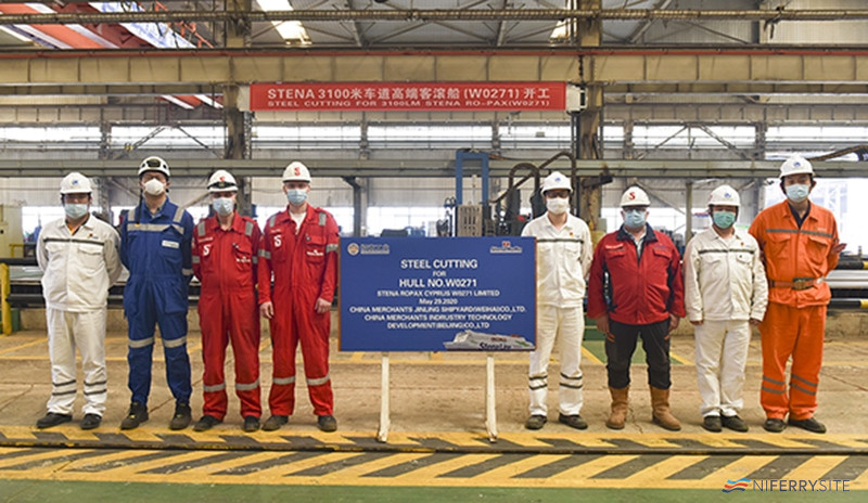 Steel cutting begins for W0271 at China Merchants Jinling Shipyard (Weihai) on May 29, 2020. © China Merchants Jinling Shipyard (Weihai).