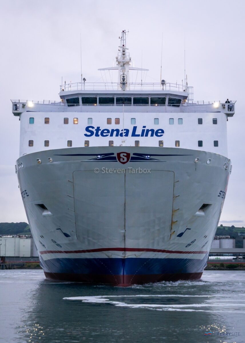 Stena Line's STENA EUROPE swings with the assistance of SVITZER SUSSEX outside Belfast Building Dock having just left the facility following her annual dry-docking. Copyright © Steven Tarbox.