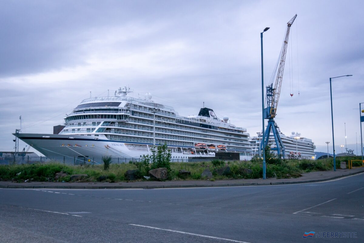 Viking Cruises VIKING SKY and VIKING SEA seen moored at Harland & Wolff's Ship Repair Quay. Copyright © Steven Tarbox.