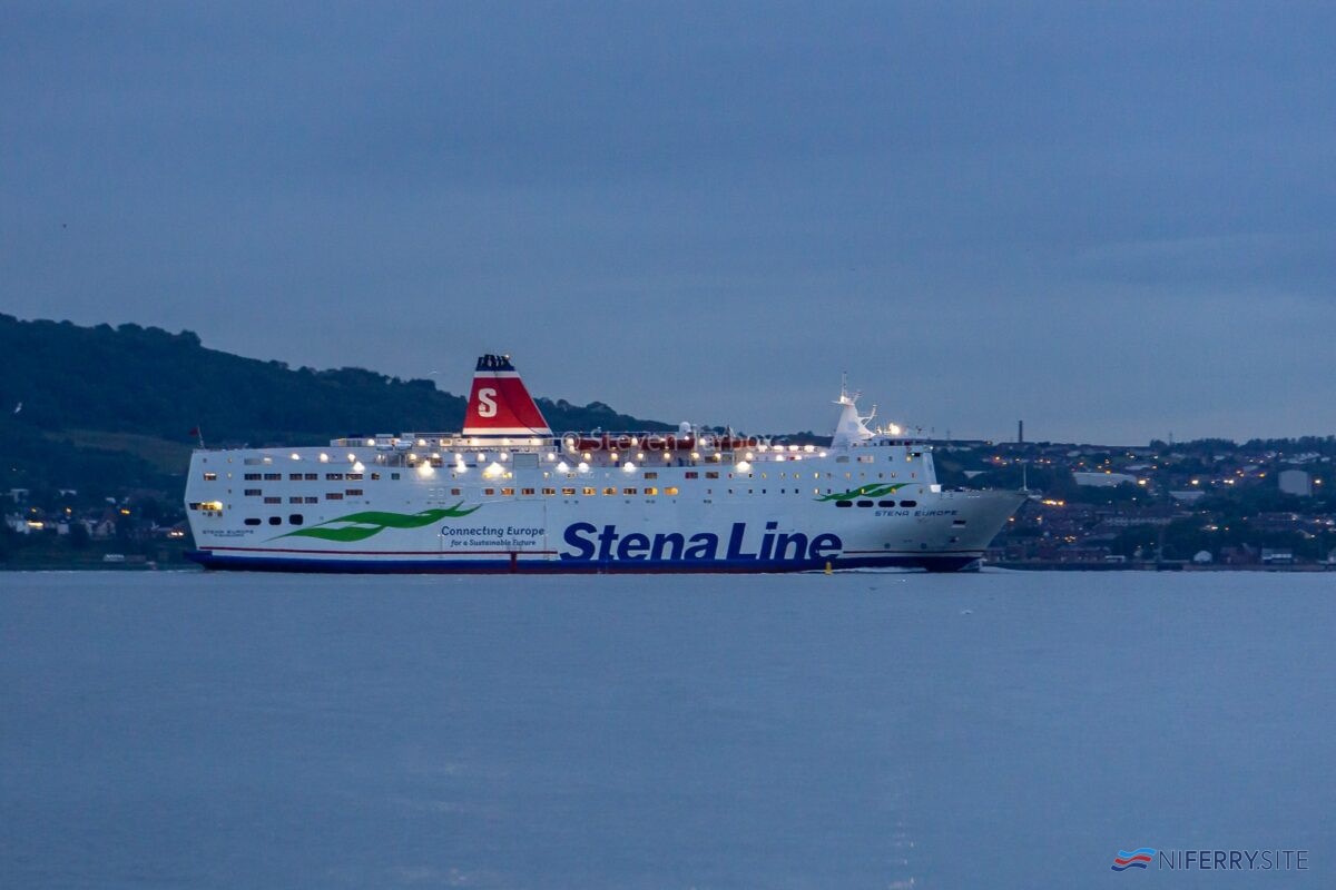 STENA EUROPE makes her way along Belfast Lough following her annual dry-docking at Harland & Wolff, 02.07.2020. Copyright © Steven Tarbox.