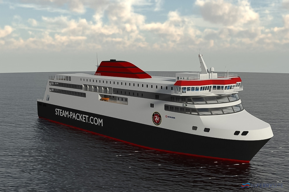 An early rendering of the new Isle of Man Steam Packet ferry ordered from Hyundai in Korea. Isle of Man Steam Packet.