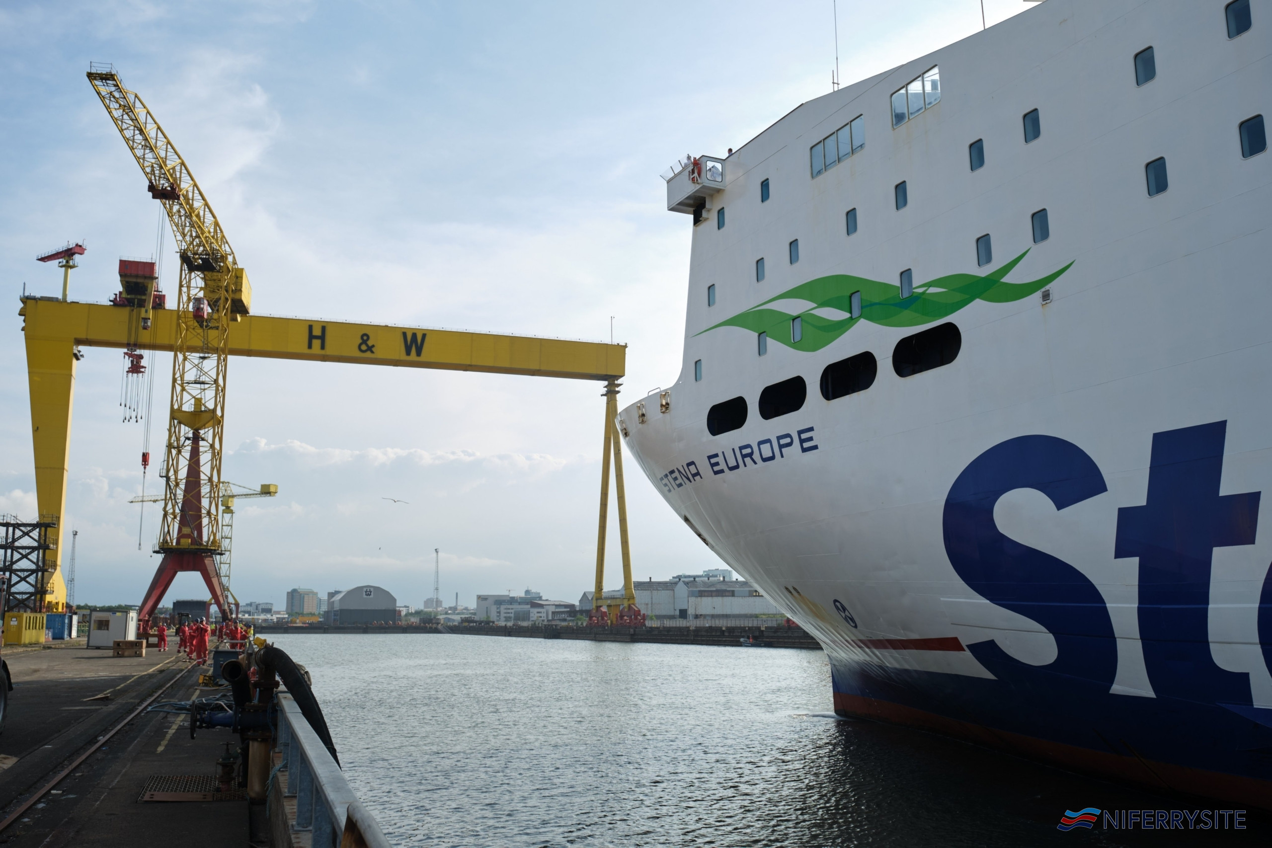 STENA EUROPE arrives at Harland & Wolff Belfast for her 2020 dry docking. Stena Line.