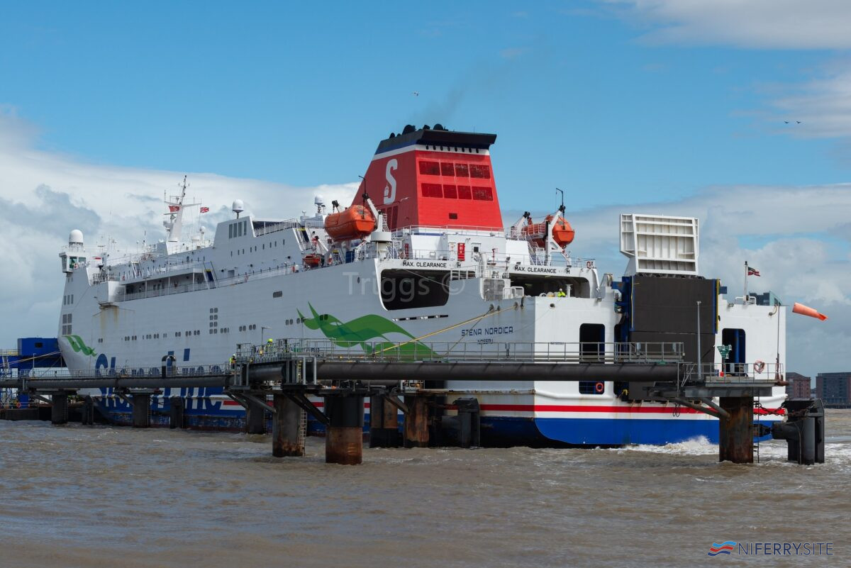 STENA NORDICA seen at the 12 Quays Birkenhead South Berth, Sunday July 5 2020. Copyright © Christopher Triggs.