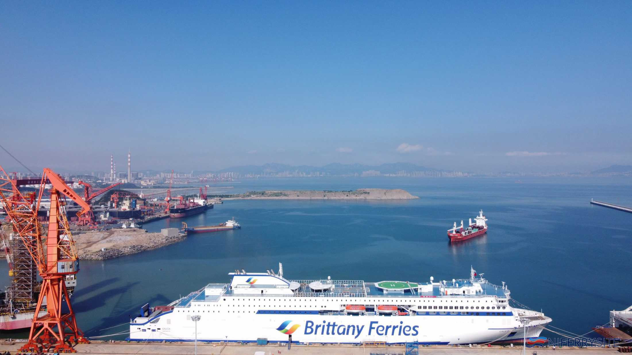 Brittany Ferries' GALICIA alongside at the outfitting pier nearing completion. Brittany Ferries.