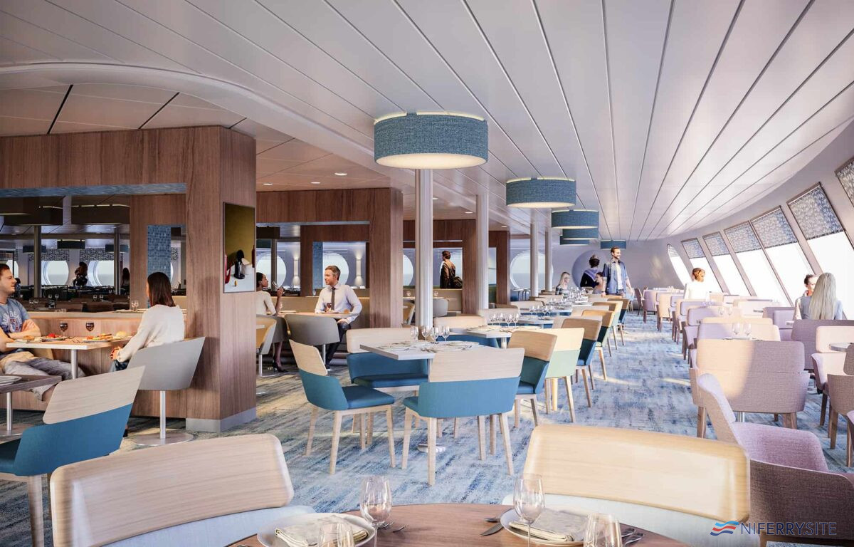 A composite image showing the main restaurant on GALICIA. Brittany Ferries.