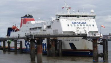 STENA NORDICA seen at Birkenhead's 12 Quays South berth on Thursday 30.07.20. Copyright © Rob Foy.