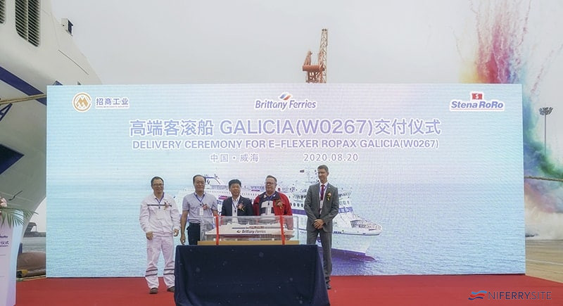 The delivery ceremony for GALICIA took place at Weihai on 20.08.20 though the ship wasn't actually delivered on the day. China Merchants Jinling Shipbuilding (Weihai).