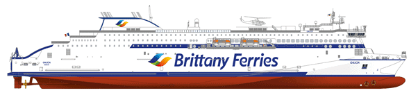 Side profile drawing of GALICIA. Brittany Ferries.