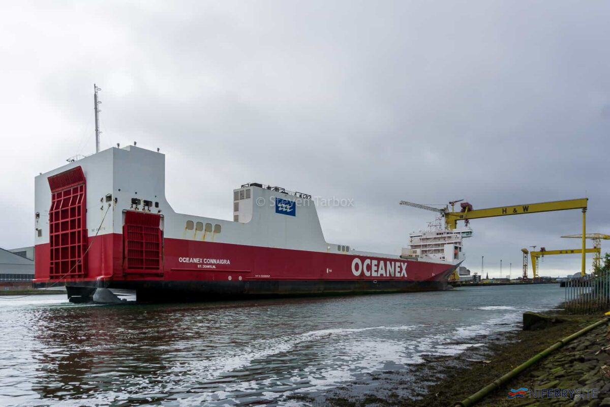 OCEANEX CONNAIRGRA approaches Belfast Building Dock on Sept 7, 2020. Copyright © Steven Tarbox.
