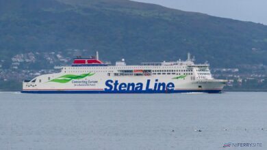 STENA ESTRID departs Belfast for the first time, just after 7am, Thursday, 10.09.20. Copyright © Steven Tarbox