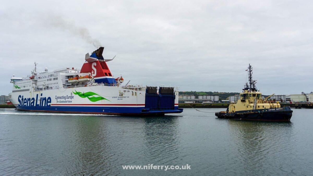 STENA SUPERFAST VIII backs down Musgrave Channel towards Harland & Wolff's Commisioning Quay, 10.09.20. Copyright © Steven Tarbox