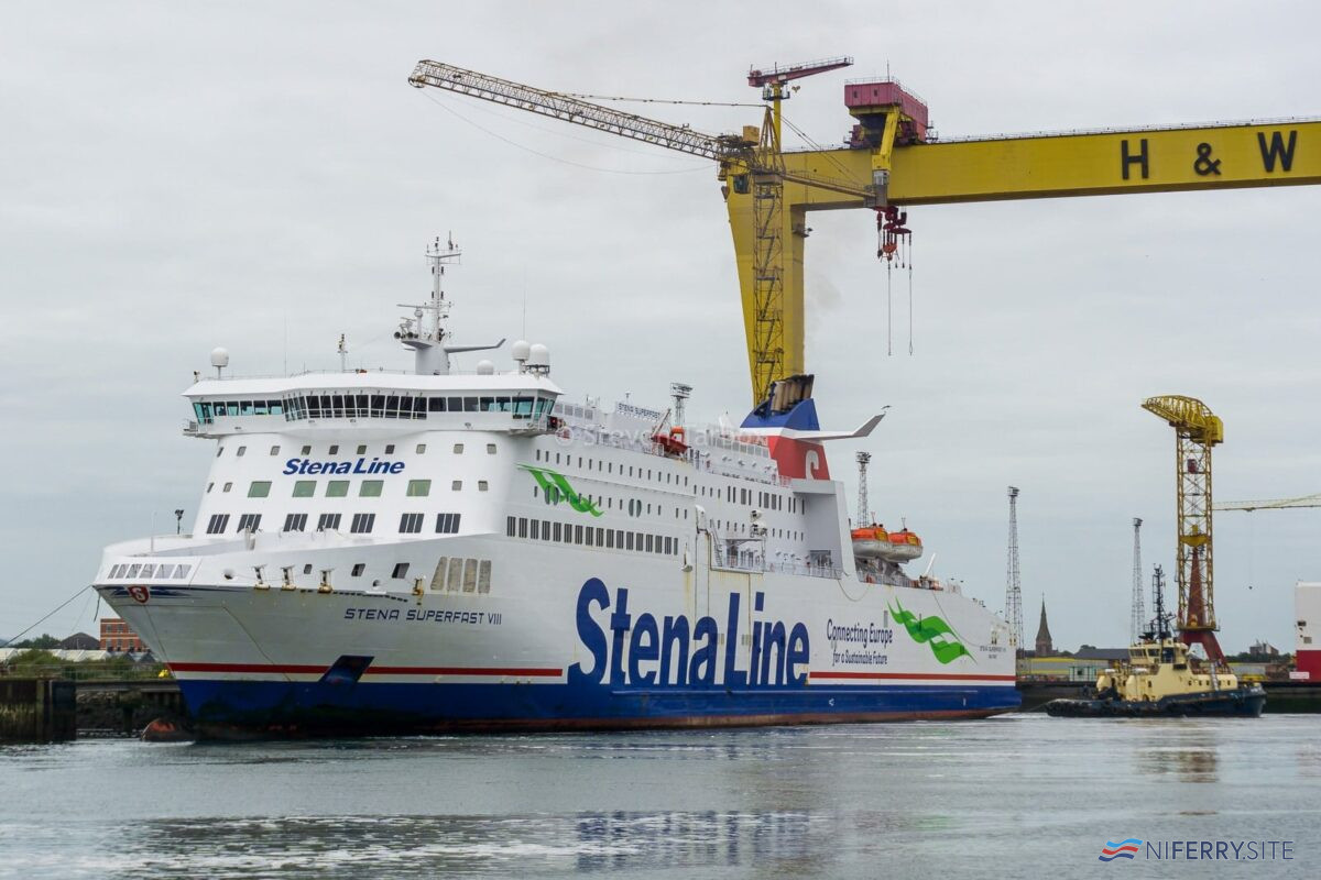 STENA SUPERFAST VIII at Harland & Wolff's Commisioning Quay, 10.09.20. Copyright © Steven Tarbox
