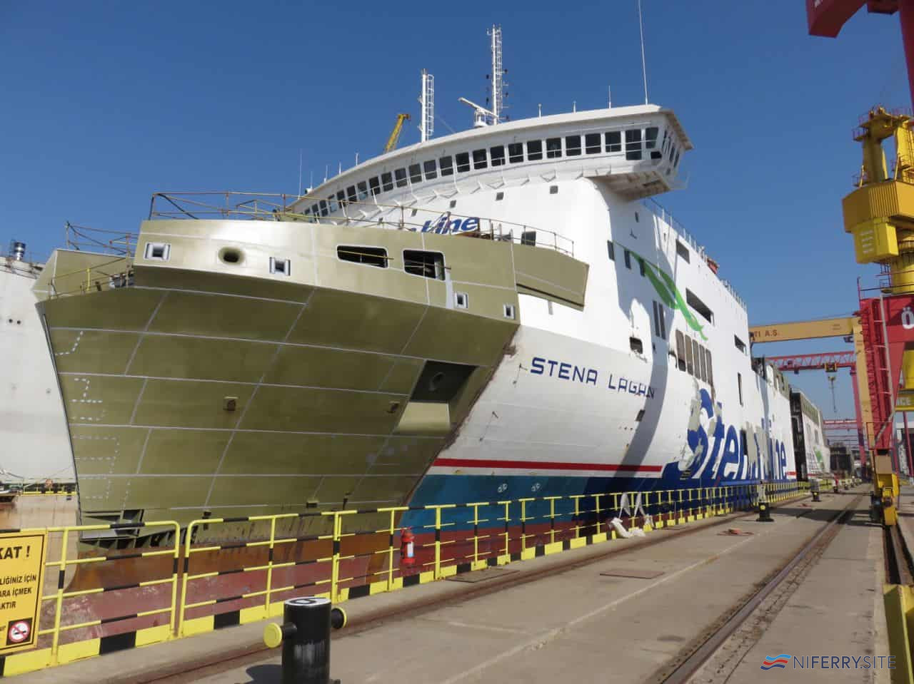 STENA LAGAN undergoing rebuilding at SEDEF Shipbuilding, Tuzla, Turkey. The rebuilt bow, through which the ship will now be able to load vehicles, can be clearly seen. Copyright © Stena RoRo.