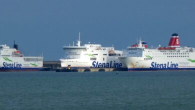STENA VINGA, STENA HORIZON, and STENA EUROPE together in Rosslare. Copyright © Patrick Healy.