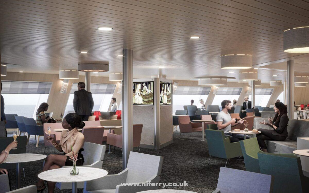 A composite image showing the Club Lounge onboard GALICIA. Brittany Ferries.