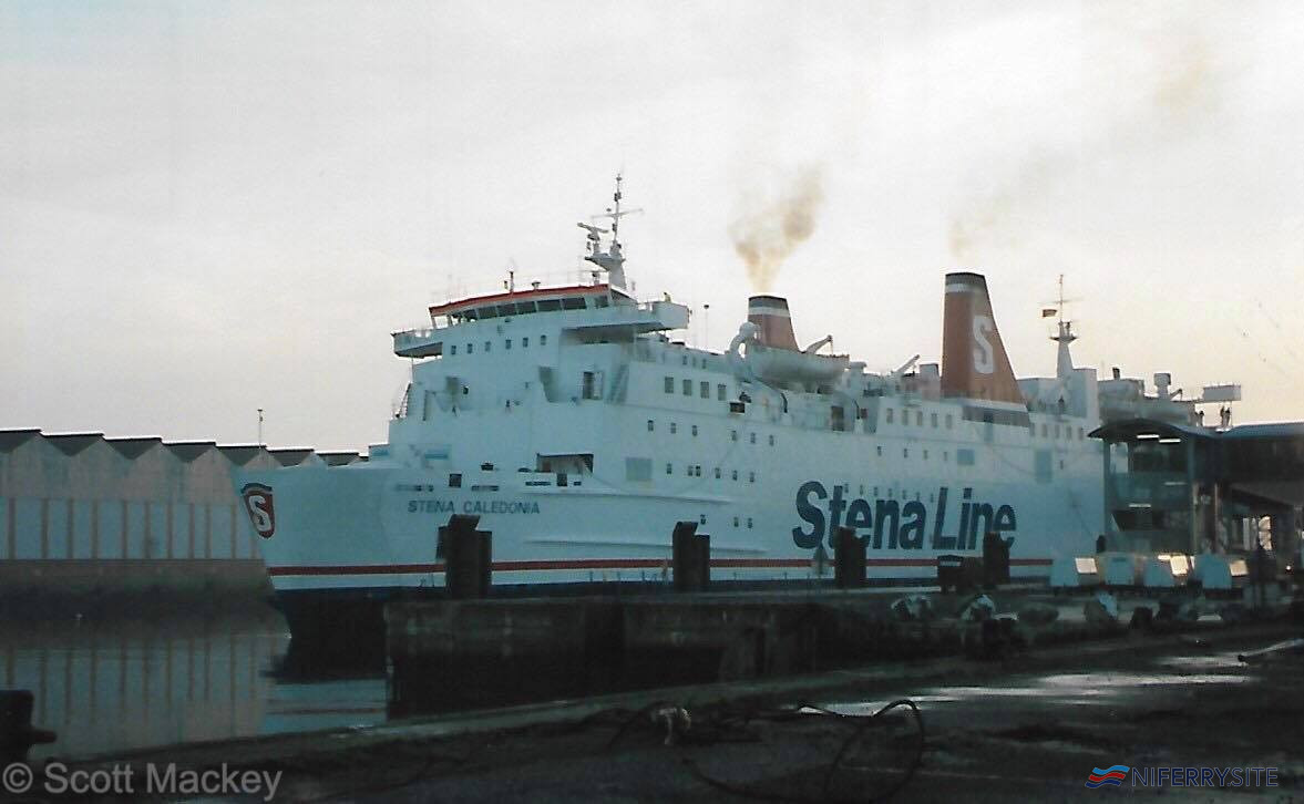 Stena Caledonia departs the new Belfast Terminal at Albert Quay, bound for Stranraer in November 1995. © Scott Mackey.