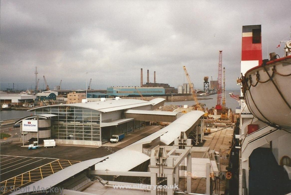 A view from Stena Caledonia of the new terminal building and construction works continuing on the berth at Ballast Quay for the HSS, November 1995. © Scott Mackey.