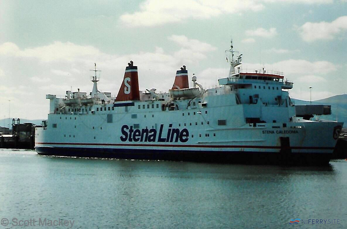 Stena Caledonia pulls away from her Belfast berth on another sailing to Stranraer in November 1996. © Scott Mackey.