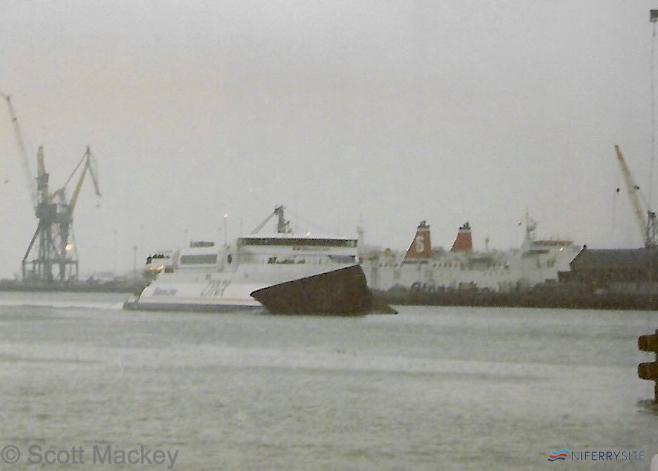 A dull wet February day in 1998 sees Stena Lynx I arrive at Belfast from Stranraer while covering on the route with Stena Caledonia in the Thompson Graving Dock for overhaul. © Scott Mackey.