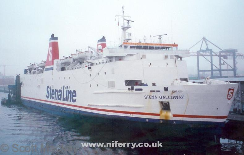 Stena Galloway at her Belfast berth in the early morning mist, April 1999. © Scott Mackey.
