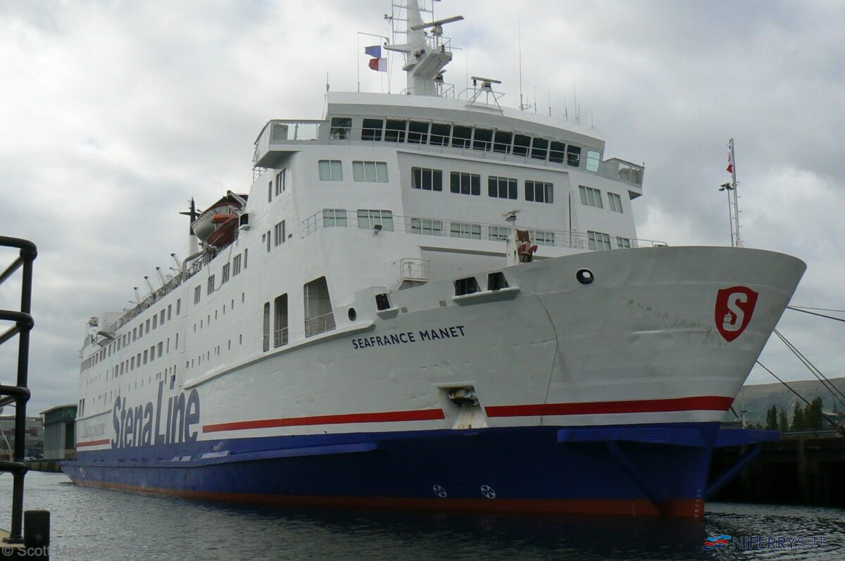 Stena Navigator seen at Albert Quay on her first day in Belfast, September 2009. She would enter service after refurbishment in November 2009. © Scott Mackey.