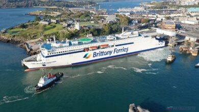 Brittany Ferries GALICIA undertakes trials at Plymouth, October 14, 2020. Brittany Ferries