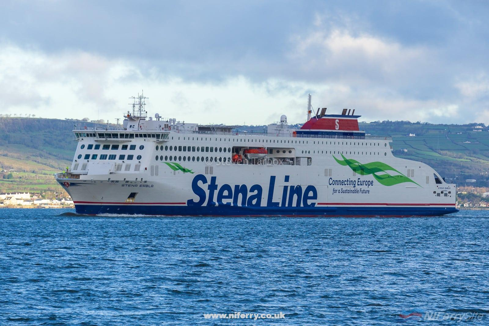 STENA EMBLA arrives at Belfast after a 6,000+ mile journey from China. Copyright © Steven Tarbox / niferry.co.uk.