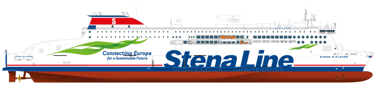 Side-profile drawing of the standard Stena Line E-Flexer class. Image: © Stena Line.