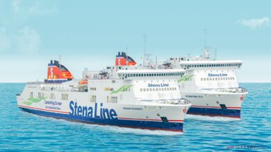 A photo montage of STENA LAGAN and Stena Mersey as STENA SCANDICA and STENA BALTICA. Stena Line.