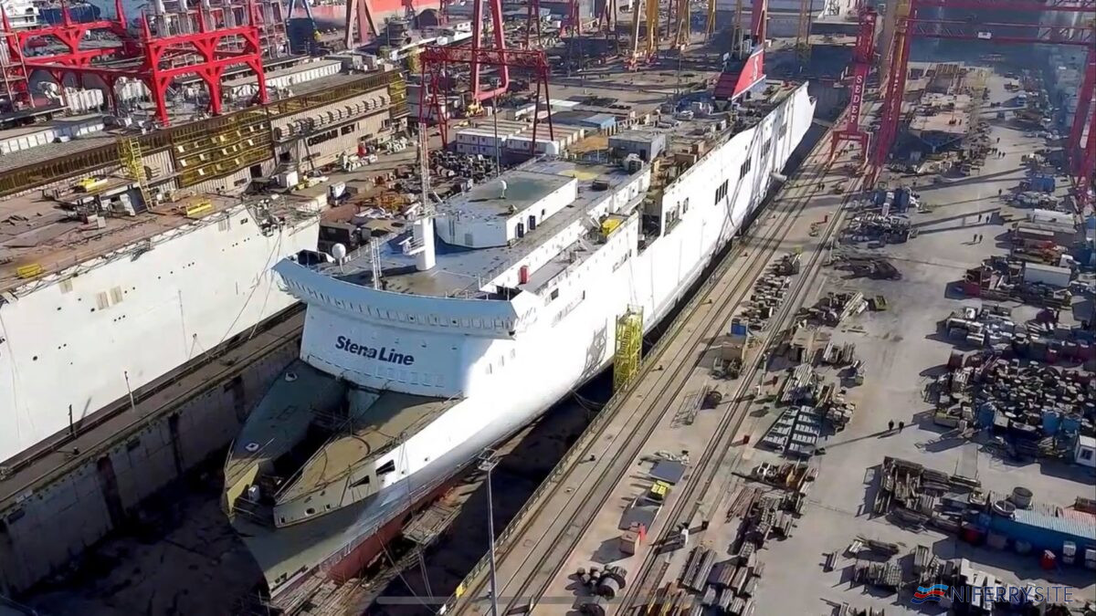 The lengthened STENA LAGAN undergoing fitting out at SEDEF Shipbuilding. She will be renamed STENA SCANDICA for service between Nynashamn and Ventspils. © Stena Line.