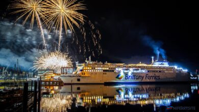 Fireworks mark the occasion of GALICIA's first commercial arrival at Portsmouth International Port, 02.12.2020. © Strong Island Media-Portsmouth International Port